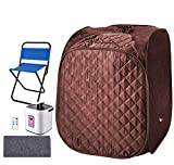 Portable Home 2L Steam Sauna with Remote Control,Indoor Foldable Steam Sauna Tent Spa Pot Loss Weight Detox Relaxation (with Foldable Chair& Timer) (Coffee)