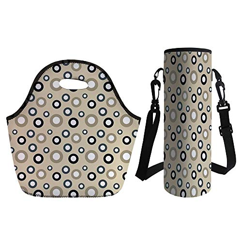 3D Print Neoprene lunch Bag with Kit Neoprene Bottle Cover,Geometric Circle Decor,Disc Shaped Curve Figures with Interior Hoops on Beige Vintage Inspired,Multi,for Adults - Mini Disc Stash