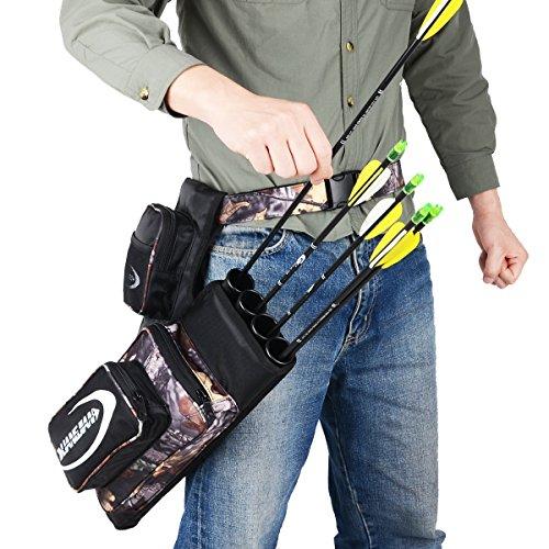 XTACER 4-Tubes Hip Quiver 810D Hunting Training Camo Archery Arrow Hip Quiver Holder Bow Belt Waist Bag Pouch