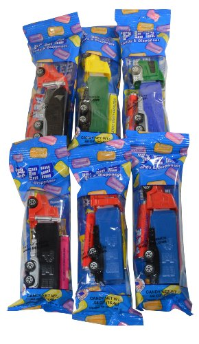 Pez Big Rig Dispensers Set of 6 + 12 Rolls of Pez Candy Colors Will Vary