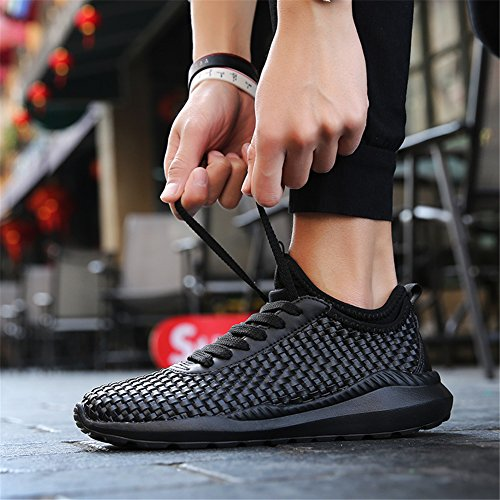 UBFen Mens Women Running Shoes Trainers Athletic Walking Indoor and Outdoor Sport Hand Woven Fashion Sneaker Casual Fitness White Black Black VhRl4