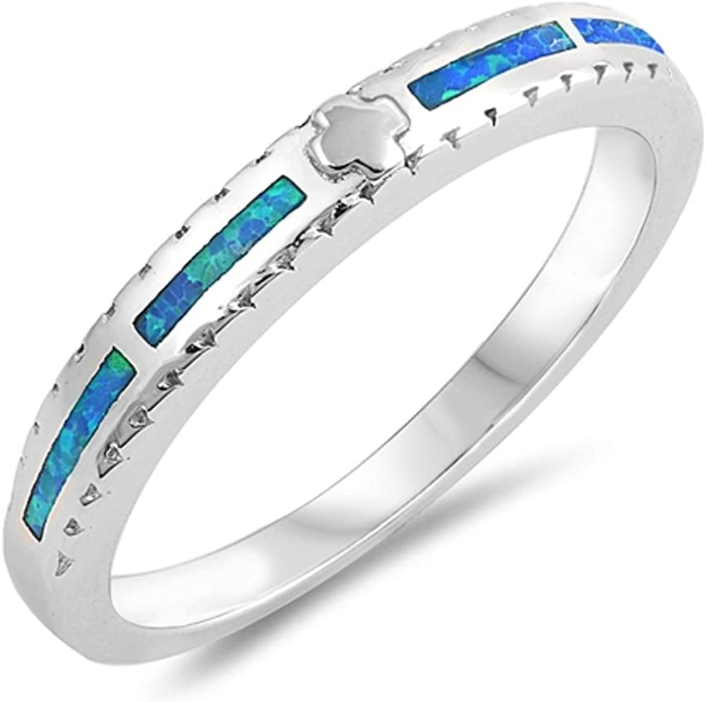 Princess Kylie Blue Simulated Opal Greek Cross Thin Band Ring Sterling Silver