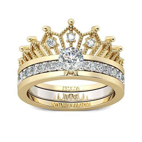 2 in 1 Runder Krone Damen Ringe Set Vergoldet Sterling Silber Verlobungsring Rundschliff Zirkonia Diamant Geschenke für Party Geburtstag Kronen-Damenring foreverH (Golden, 6)