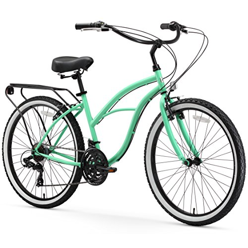 Girls Beach Cruiser Bikes - sixthreezero Around The Block Women's 21-Speed Cruiser Bicycle, Mint Green w/ Black Seat/Grips, 26