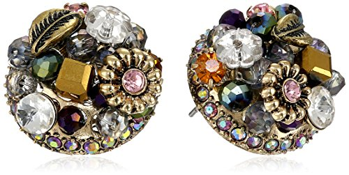 Betsey Johnson Woven Clusters Woven Cluster Round Stud Earrings