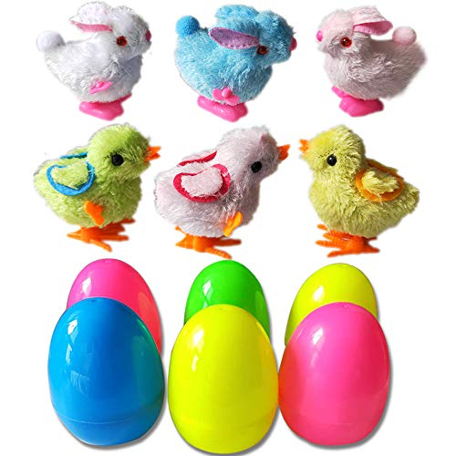 PTFNY 6 Pack Toys Filled Easter Eggs Filled with 6 Easter Eggs with 6 Wind-Up Cute Colorful Bunnies and Chicken Toys (Muticolor)