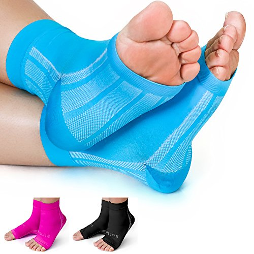 Achilles Tendonitis Brace (Premium Compression Socks- Highest Medical Grade for Serious Pain Relief- Foot Sleeves Combine Achilles Tendon Support + Plantar Fasciitis Night Splint + Ankle Brace- Men/Women (2 Sleeves))