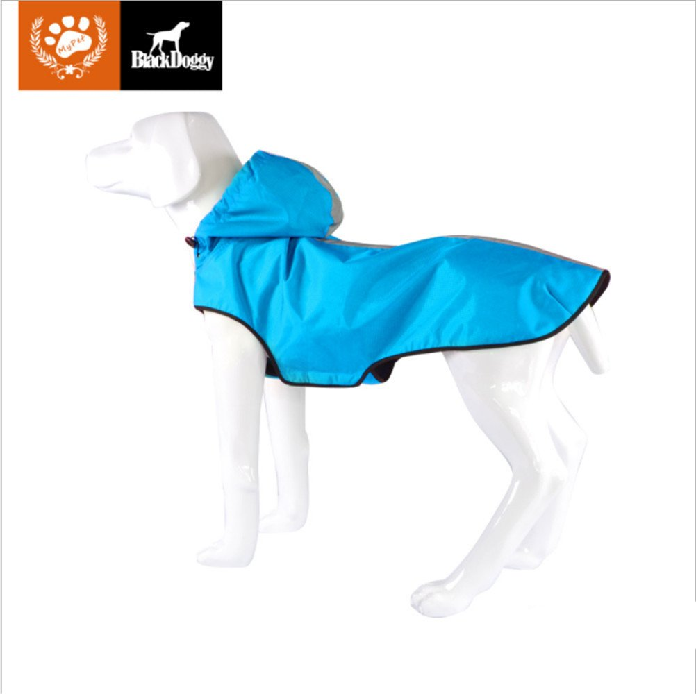 KINGSWELL Dog Jacket Waterproof Light weight Rain Coat for Large Medium Small Dogs with Hood and Reflective Strips(Blue,M)