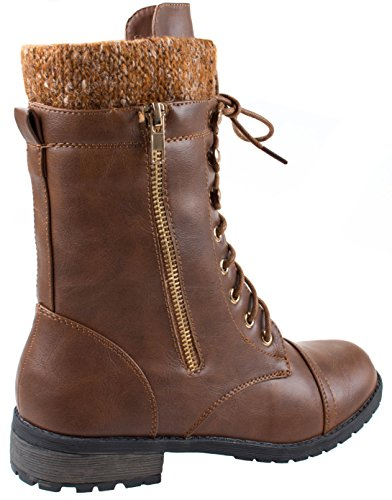 Cuff Tan Round Up Toe 31 Women's Forever Comboots Low Knit Mango Heel Military Ankle Lace xRqHqP6Cw