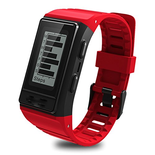 Hmhope Smart Bracelet Fitness Tracker GPS Pedometer Heart Rate Monitor Multi-Sport Mode Waterproof Outdoor Display Screen for Android and IOS,Red by pedometer