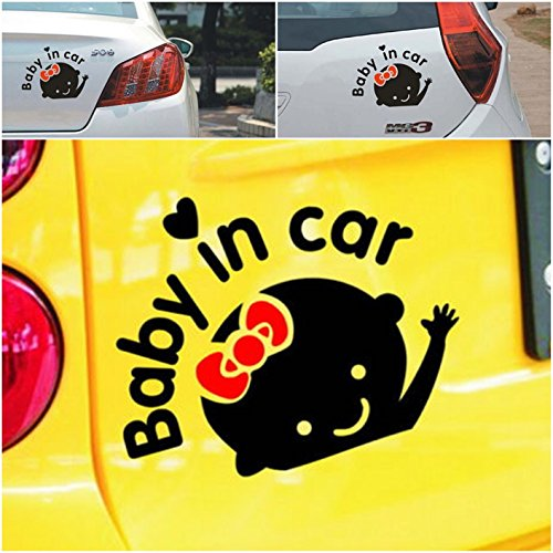 1-Pc Dazzling Unique Baby In Car Window Stickers Cute Decal Windows Vinyl Sign Graphics Decor Macbook Laptop Decals Room Art Wall Funny Mac Apple Kids Family Patches Sticker Girl Style Color Black