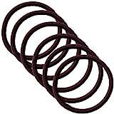 クラン ヘアゴム リングゴム 結び目の無い内径 5cm 太さ4mm 高品質ゴム仕様 (ココナッツブラウン 茶色 6点)