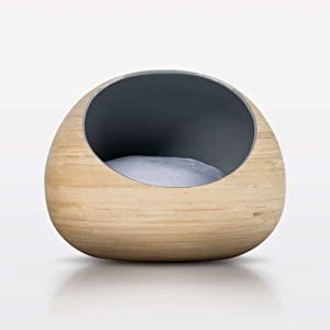 Fhasso Luxury Bamboo Cat Bed - Eco-Friendly, Natural, Handmade Cat Cave Bed with Washable Velvet Cushion - Enclosed Premium Pet Bed - Modern, Decorative Design