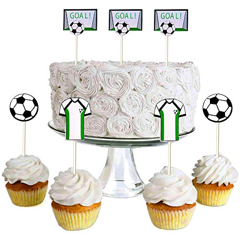 (Set of 15) Sakolla Soccer Ball Cupcake Topper Picks, Soccer Cake Topper Dessert Decoration for Birthday Party Cake Decorations Soccer Party Picks Party Supplies -