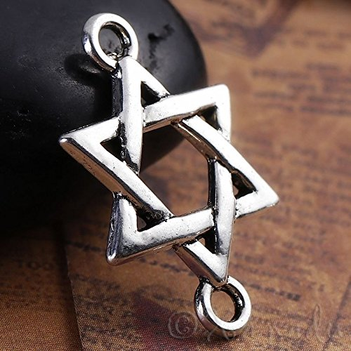 OutletBestSelling Pendants Beads Bracelet Star Of David Antiqued Silver Plated Connector Pendants 50pcs
