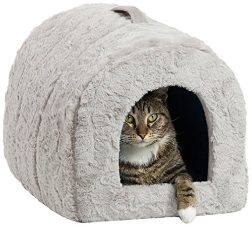 Best Friends by Sheri Pet Igloo Hut, Lux, Gray – Cat and Small Dog Bed Offers Privacy and Warmth for Better Sleep – 17x13x12 – For Pets 9lbs or Less
