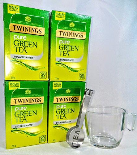 Twinings Pure Descafeinado te verde 4 cajas, 80 bolsitas de te con exprimidor de bolsa de te y taza de cristal