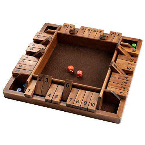 ROPODA 14 Inches 4-Way Shut The Box Dice Board Game (2-4 Players) for Kids & Adults [4 Sided Large Wooden Board Game, 8 Dice + Shut-The-Box Rules] Smart Game for Learning Addition - Vantage Style