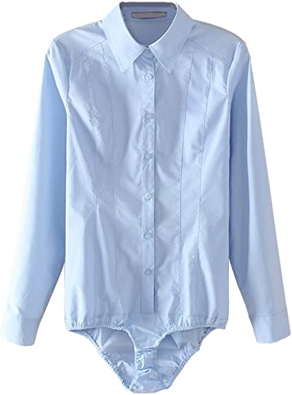 OULII Camisas Body mujer Top Manga Larga BUTTON DOWN Blouse ...
