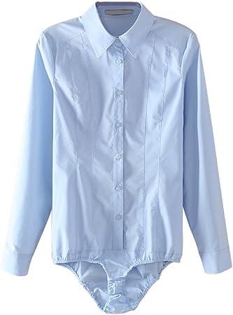 OULII Camisas Body mujer Top Manga Larga BUTTON DOWN Blouse Talla S (Azul): Amazon.es: Hogar