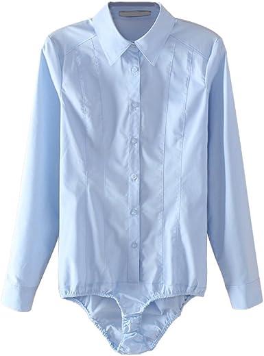 OULII Camisas Para Mujer del Mono Tops Blusa de Manga Larga con Botones Talla S (Azul): Amazon.es: Ropa y accesorios