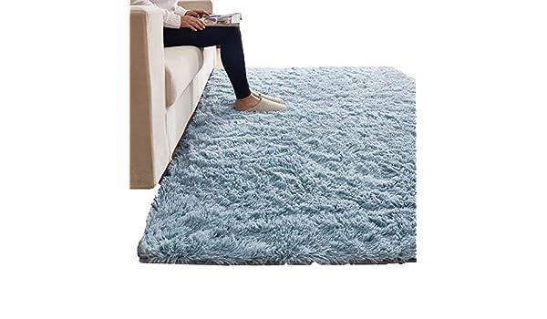 Tappeto, Alfombras Corredores Alfombras Salón Azul Fluffy Alfombras Rectangulares Alfombras De Felpa Dormitorio Que Se Puede Limpiar Frente A La Cama ...