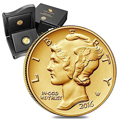 - 2016 S 1/10 Oz Mercury Dime Centennial Gold Coin 1916-2016 100th Anniversary (W/Box & COA) $1 Brilliant Uncirculated US Mint