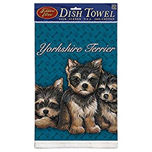 """Kitchen Towel--Dog Design--Yorkie-Yorkshire Terrier Puppies--Printed in the USA--22"""" by 32"""""""