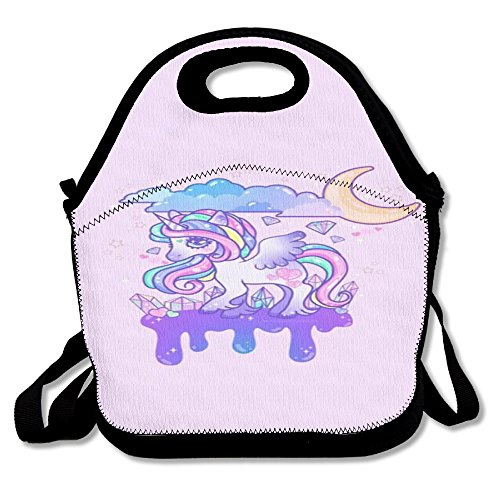 Unicorn Horse Retro Insulated Heating Polyester Backpack Women Men Kids Toddler Black Lunch Bag Tote Lunch Box Tote Bag For School Office