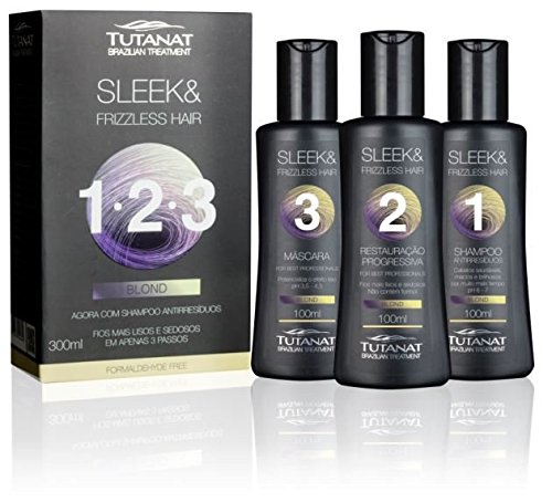 Tutanat Progressiva Blond Kit - Brazilian Treatment - Formaldehyde free, includes Shampoo 100ml/3.38oz Brazilian Keratin Treatment 100ml/3.38oz, Brazilian Keratin Mask 100ml/3.38oz - Full Blowout Kit