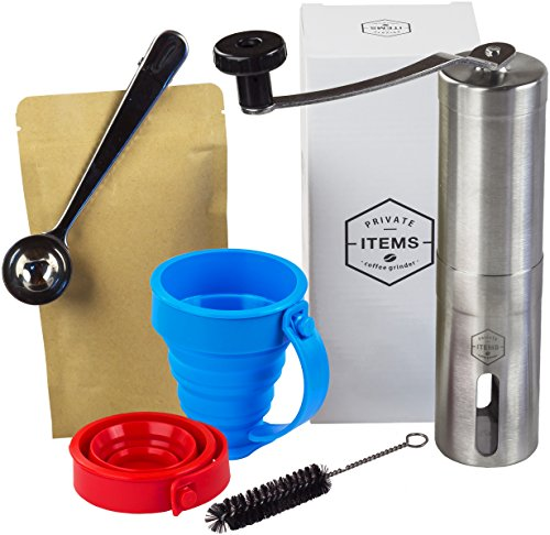 Cofee Grinder Manual + [TRAVEL CUPS, CASE WITH TIES, 2 VACUUM BAGS] - Stainless Steel with Adjustable Ceramic Burr - Aeropress Compatible - Perfect for Traveling - Gift Box (Coffee Maker With Grainder compare prices)
