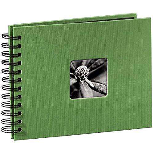 Hama Fotoalbum Fine Art, 50 schwarze Seiten (25 Blatt), Spiralalbum 24 x 17 cm, mit Ausschnitt für Bildeinschub, apfelgrün
