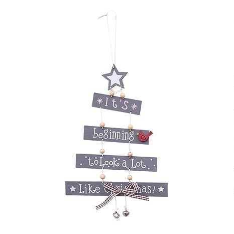 Decorazioni Natalizie Pendenti.Ueb Ornamenti Per Natale In Legno Con Lettere Ciondoli Pendenti