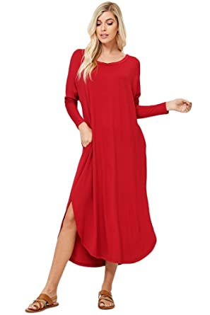 006b5a064c Annabelle Women's Solid Wide Round Neck Long Sleeve Curved Hem Maxi Dresses  with Pockets Dark Red