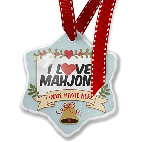 Add Your Own Custom Name, I Love Mahjong Christmas Ornament NEONBLOND by NEONBLOND (Image #5)