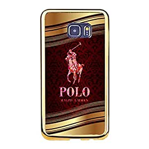 Retro Luxury Polo Ralph Lauren Print Cover Case TPU Golden Border series for Samsung Galaxy S6 Edge Plus