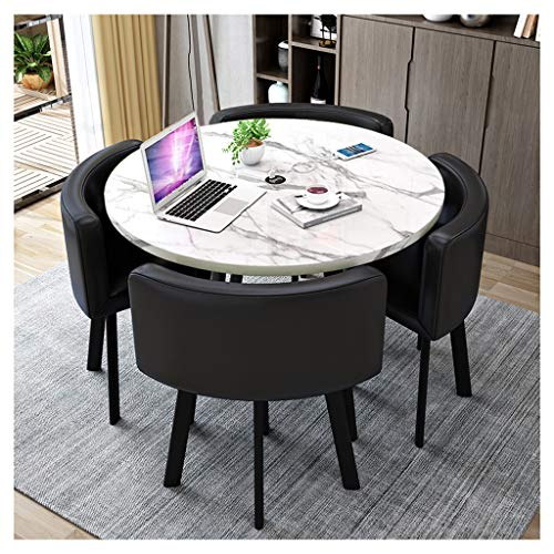 Round Cafe Table and Chair Combination Set Kitchen Living Room Home Bakery Dessert Shop Beverage Shop Fast Food Restaurant Cinema Library Hotel Office Reception Room Soft Furniture 5-Piece from Style-Table and chair set