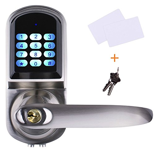 EZlock ELC01-V2.0 Electronic Keyless Backlit Keypad Door Lever Lock, Unlock with Code, Card, Physical Key. | Auto-Lock | Passage Mode | Voice Prompts for Setting, Right-Handed