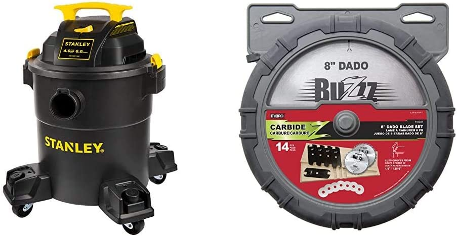 """Stanley 6 Gallon Wet Dry Vacuum, 4 Peak HP Poly 3 in 1 Shop Vac Blower with Powerful Suction, Multifunctional Shop Vacuum W/ 4 Horsepower Motor & MIBRO 416381 8"""" Carbide Stacking Dado Blade Set"""