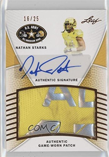 Nathan Starks #16/25 (Football Card) 2014 Leaf U.S. Army All-American Bowl - Game-Used Patch Autographs #PA-NS1
