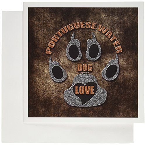 3dRose Portuguese Water Dog Love Dog Breed in Gray and Brown - Greeting Cards, 6 x 6 inches, set of 6 (gc_22097_1)