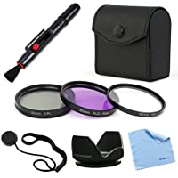 BIRUGEAR 52mm Lens Hood and 3pc(UV/FLD/CPL) Filter Accessory Kit for Canon EOS M with EF-M 18-55mm STM lens Kit or Canon EF 50mm f/1.8 II Lens, 40mm EF f/2.8 STM Lens
