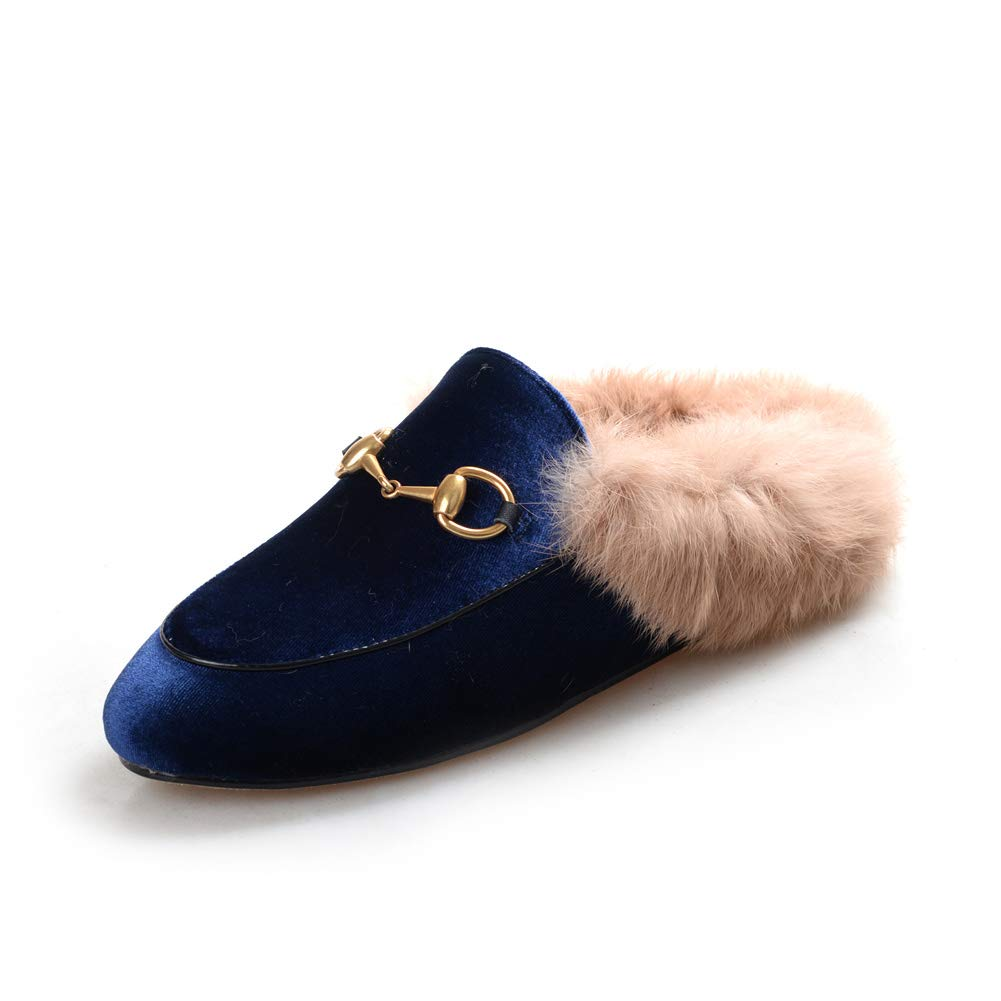bluee velvet HEETIST Backless Faux Fur Mules for Women, Round Toe Yellow Suede Flats Outdoor Slipper Flats shoes