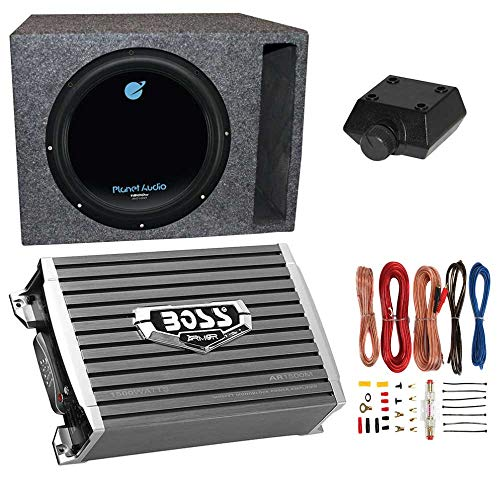 Planet Audio 1800W Subwoofer + Boss 1500W Amplifier + Remote & Wiring Kit + Q-Power (Best Planet Audio Car Subs)