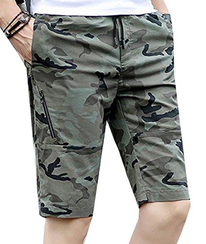 Fulok Mens Elastic Camo Printed Zipper Fashion Shorts Pants hot sale