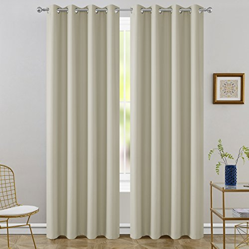 FLOWEROOM Room Darkening Curtains Thermal Insulated Blackout Curtain with Grommet for Living Room, Wood Beige, 52 x 96 inch, 2 Panels