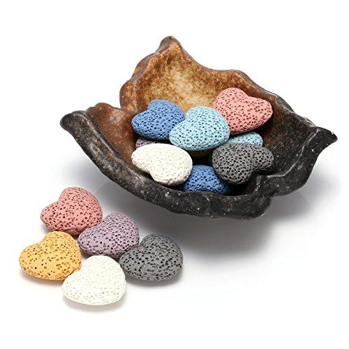 (Top Plaza Lava Rock Gemstone Aromatherapy Essential Oil Diffuser Set - Irregular Shape Ceramic Incense Burner/Ware/Holder/Bowl With 14Pcs Heart Lava Stone Beads)