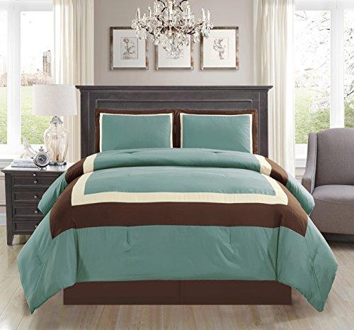 4 Piece FULL Size (Double Bed) LIGHT SILVER BLUE / BROWN / BEIGE Color Block MILAN Goose Down Alternative Comforter set 88