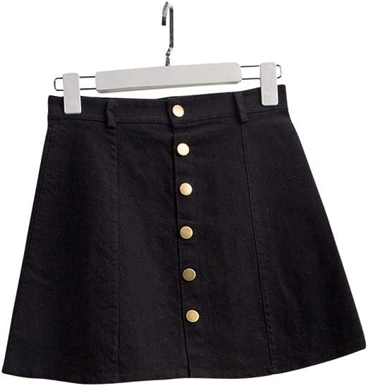 ERLIZHINIAN Botón Dril de algodón de la Falda de Cintura Alta del Verano Mujeres de hasta