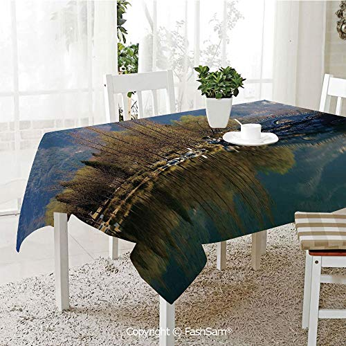 AmaUncle Party Decorations Tablecloth Nature Scenery Reflecting On Water Tranquility Relaxation Theme Lake Mountain Table Protectors for Family Dinners (W55 xL72)]()